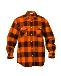 Buffalo Plaid Flannel Shirt - Extra Heavyweight - Orange Plaid