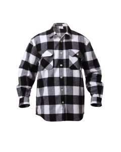 Buffalo Plaid Flannel Shirt - Extra Heavyweight - White Plaid