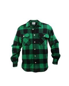 Buffalo Plaid Flannel Shirt - Extra Heavyweight - Green Plaid
