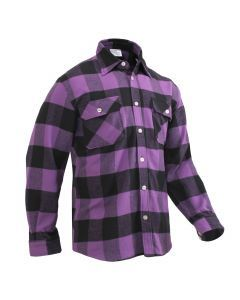 Buffalo Plaid Flannel Shirt - Extra Heavyweight - Purple Plaid