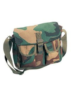 Canvas Ammo Shoulder Bag - Woodland Camo