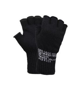 Fingerless Wool Gloves - Black