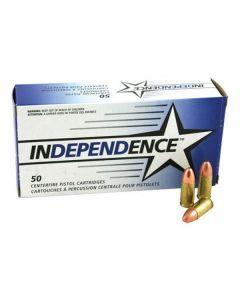 Independence 9mm Luger (FMJ) – 50 Rounds of 115gr Full Metal Jacket Bullets