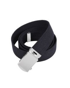 Military Web Belt - Chrome Buckle - Black