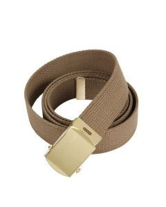 Military Web Belt - Gold Buckle - Coyote-Brown