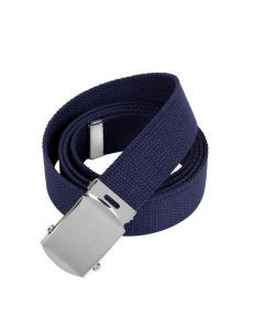 Military Web Belt - Chrome Buckle - Navy Blue