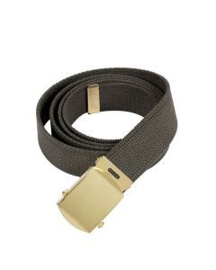 Military Web Belt - Gold Buckle - Olive Drab