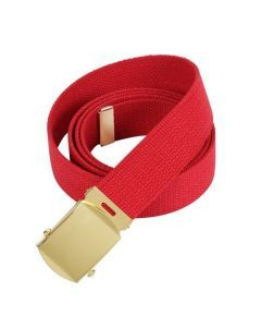 Military Web Belt - Gold Buckle - Red