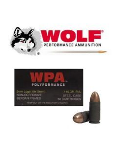 Wolf Polyformance 9mm Ammunition – 50 Rounds of 115gr Full Metal Jacket Ammunition